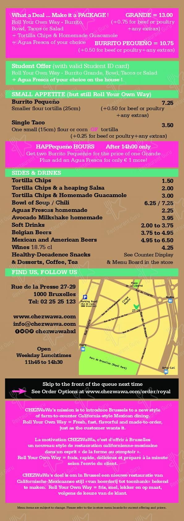CHEZWaWa menu - meals and drinks