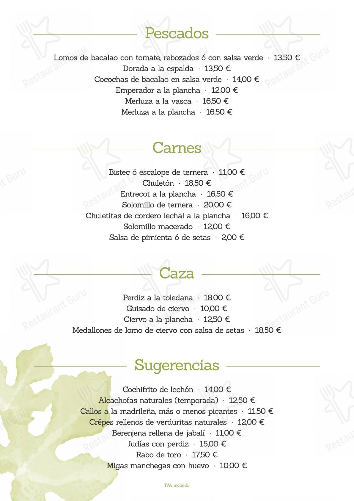 Check out the menu for La Higuera de José