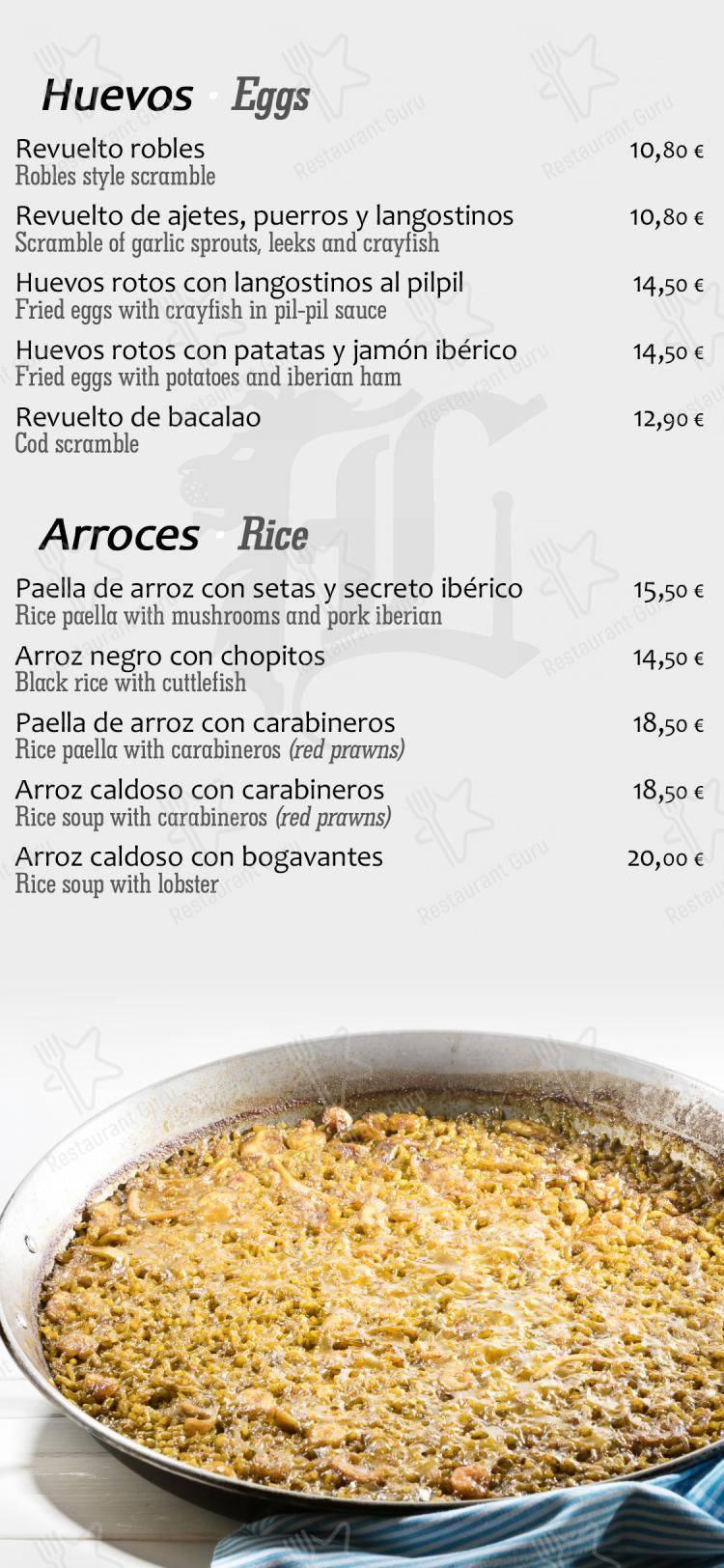 Check out the menu for Los Robles de León