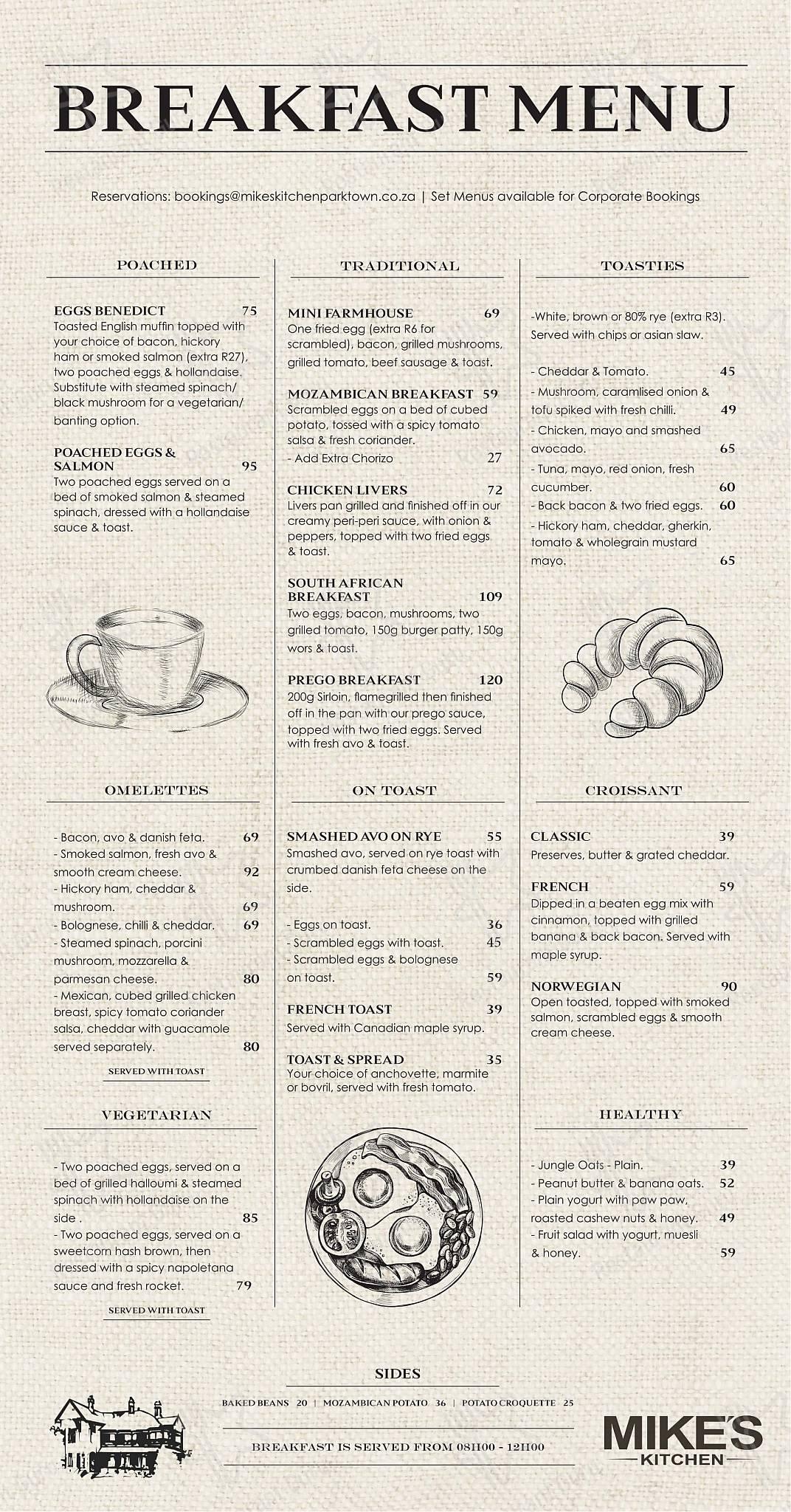 Mike's Kitchen - Breakfast Menu