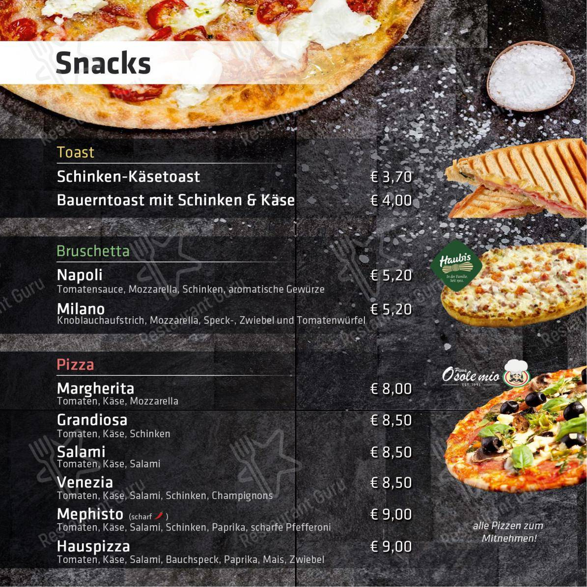 ANDIs Cafe Bar Speisekarte - Essen und Getränke