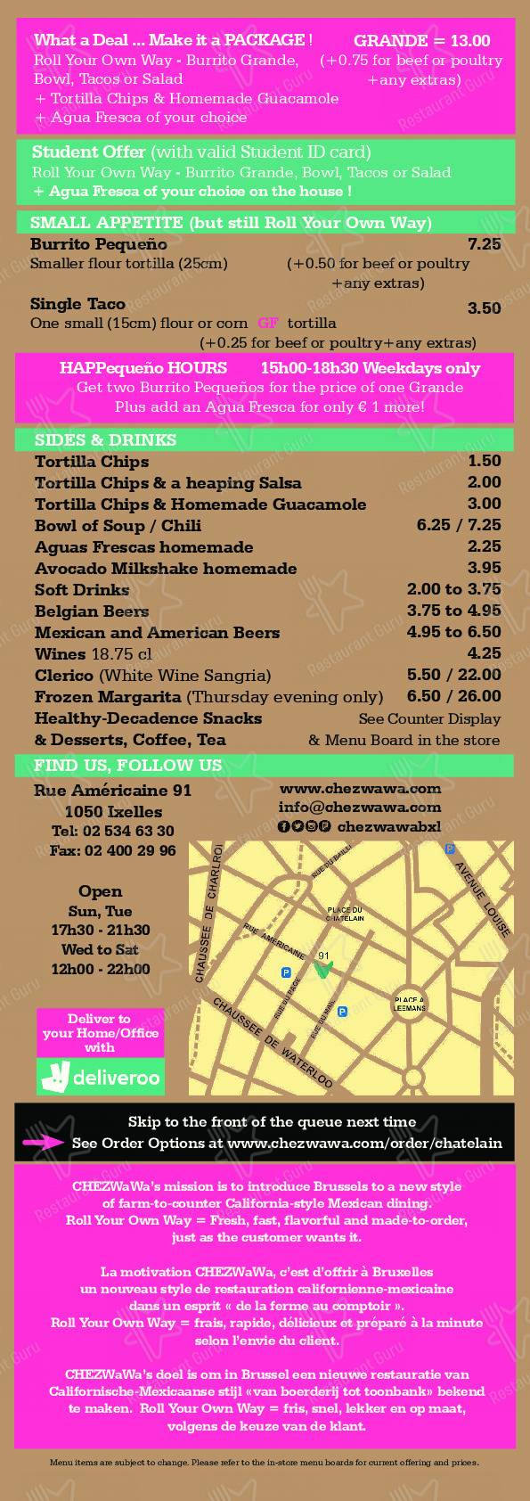 Check out the menu for CHEZWaWa