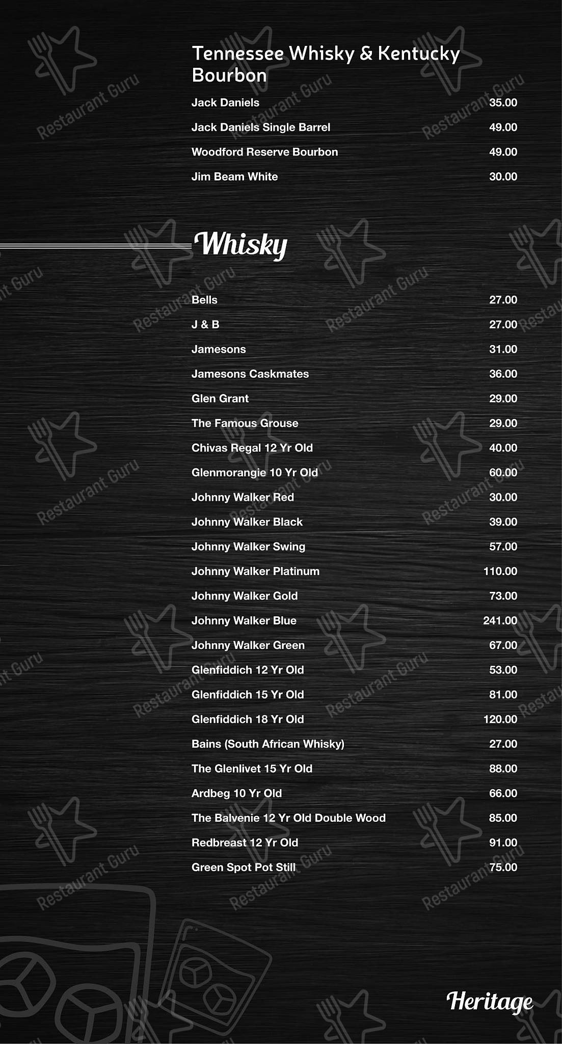 Mike's Kitchen menu - meals and drinks