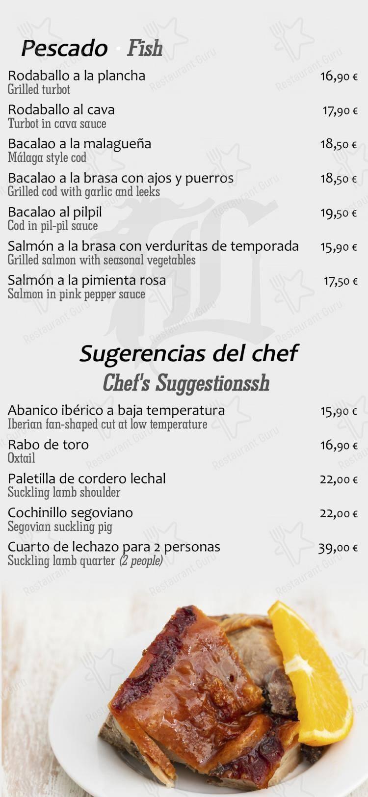 Los Robles de León menu - meals and drinks