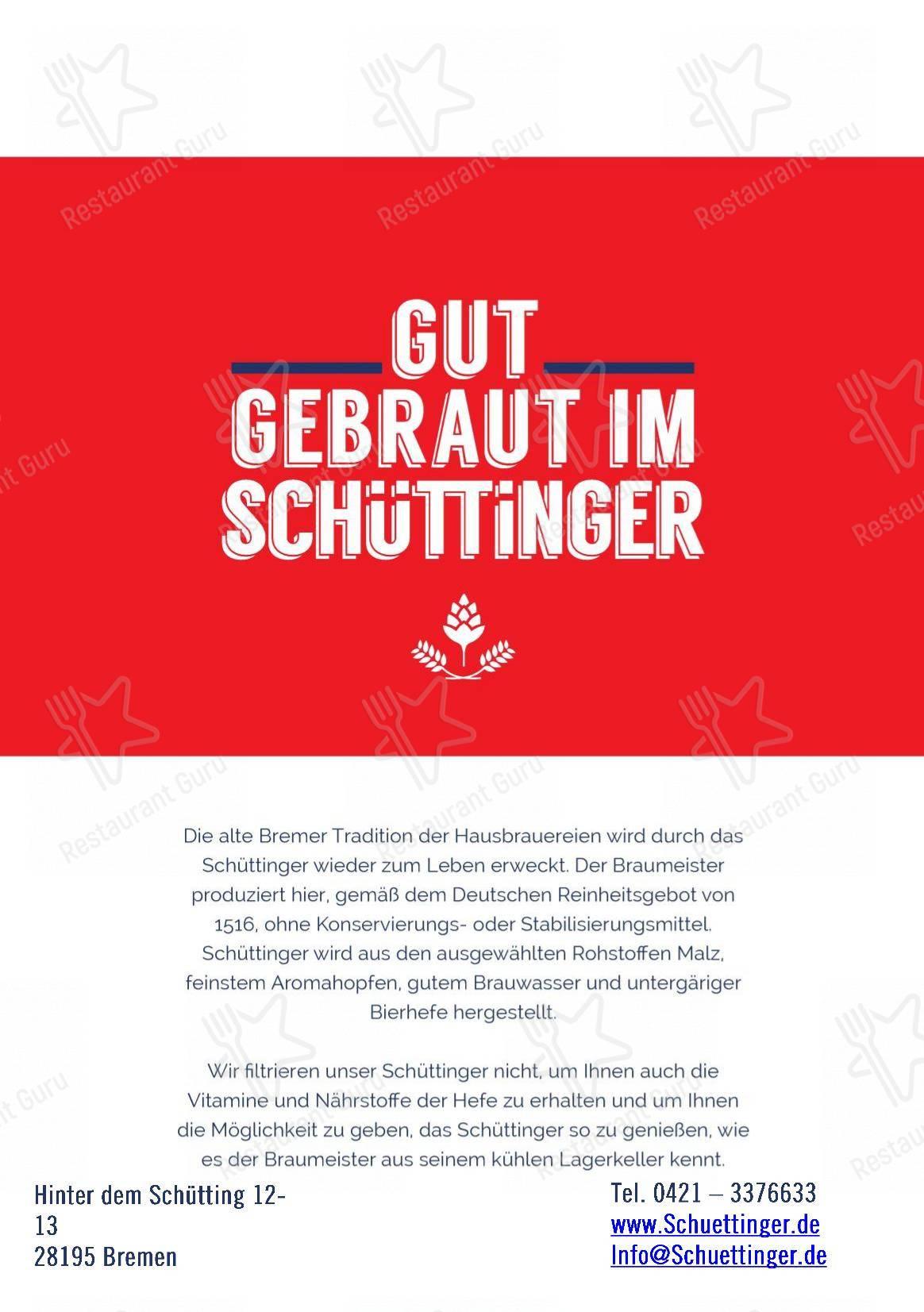 Schüttinger Gasthausbrauerei menu