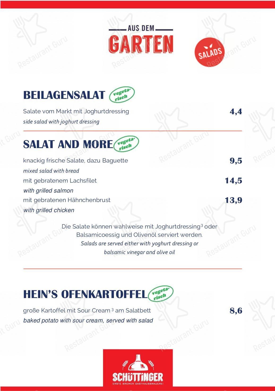 Schüttinger Gasthausbrauerei menu - meals and drinks