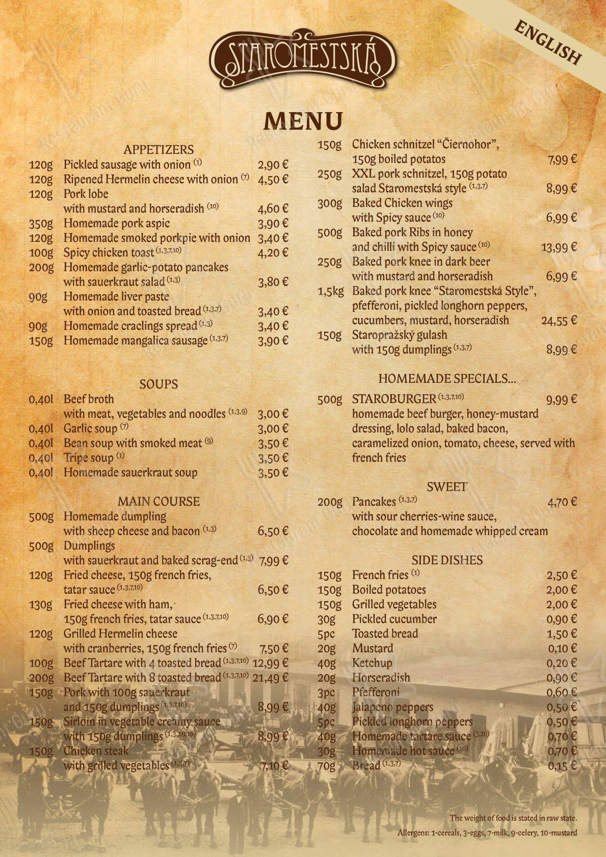 Menu pour Staromestská Piváreň pub et bar