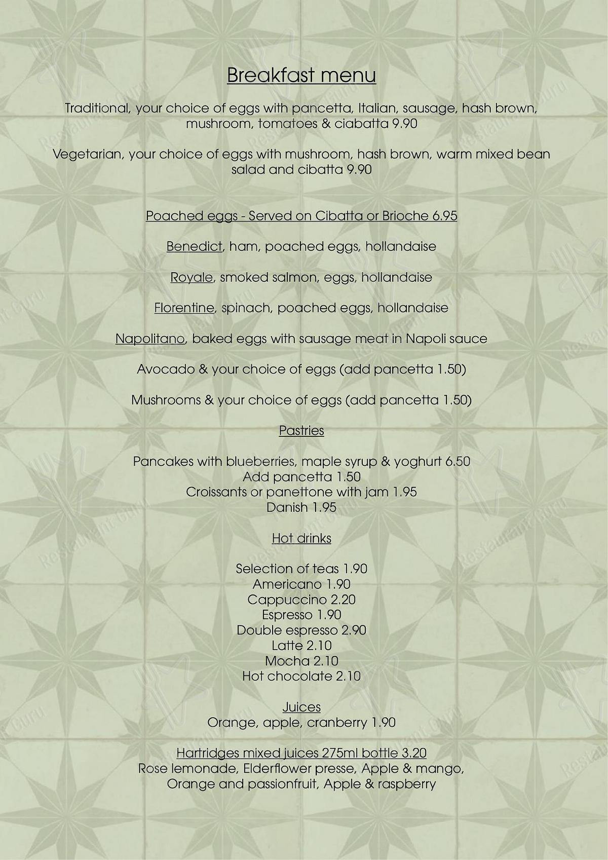 AQUA in Welwyn - Breakfast Menu