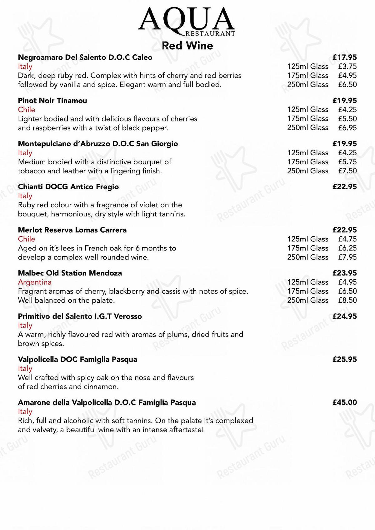 Drinks menu for AQUA in Welwyn