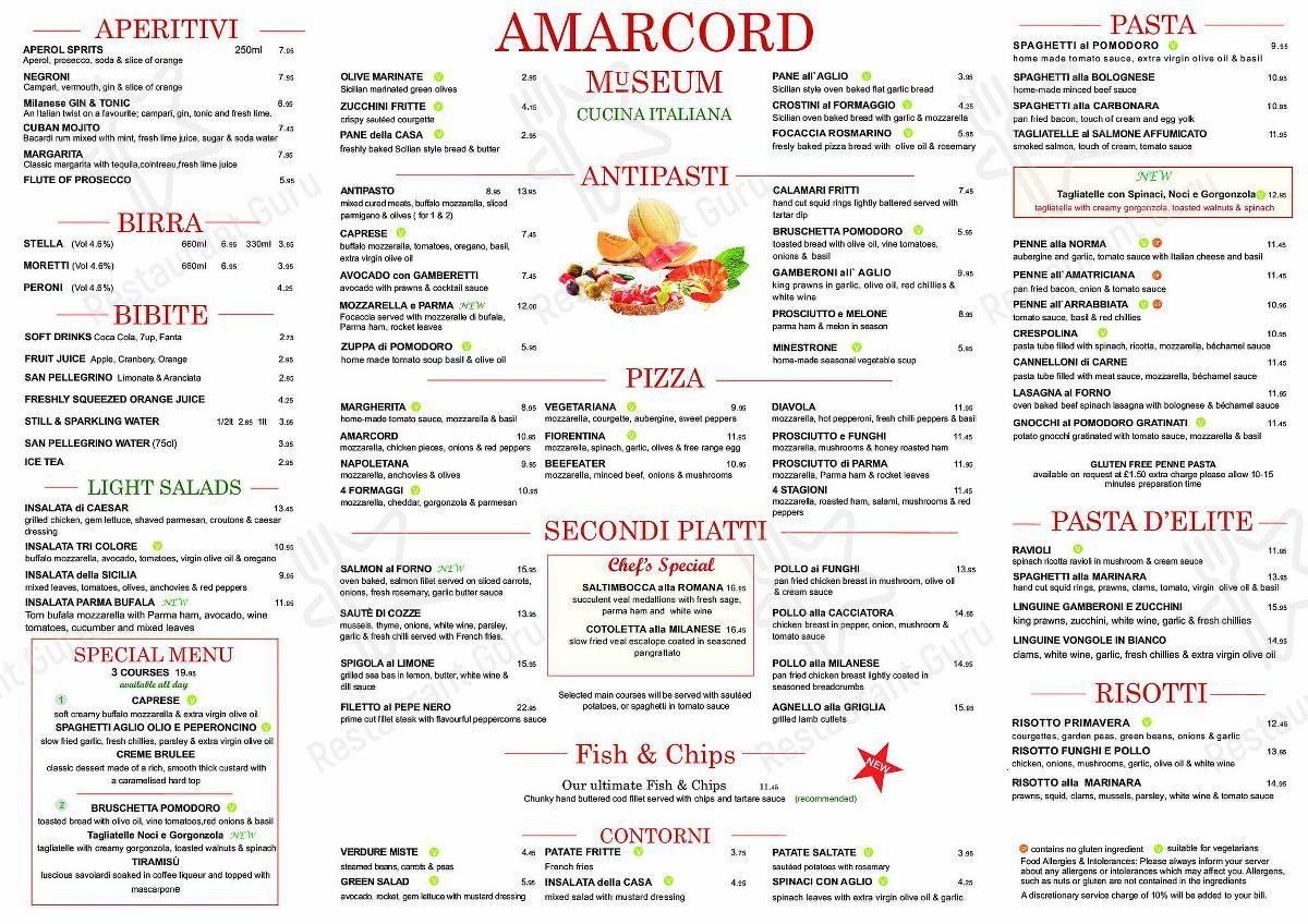 Menu for the Amarcord Museum restaurant