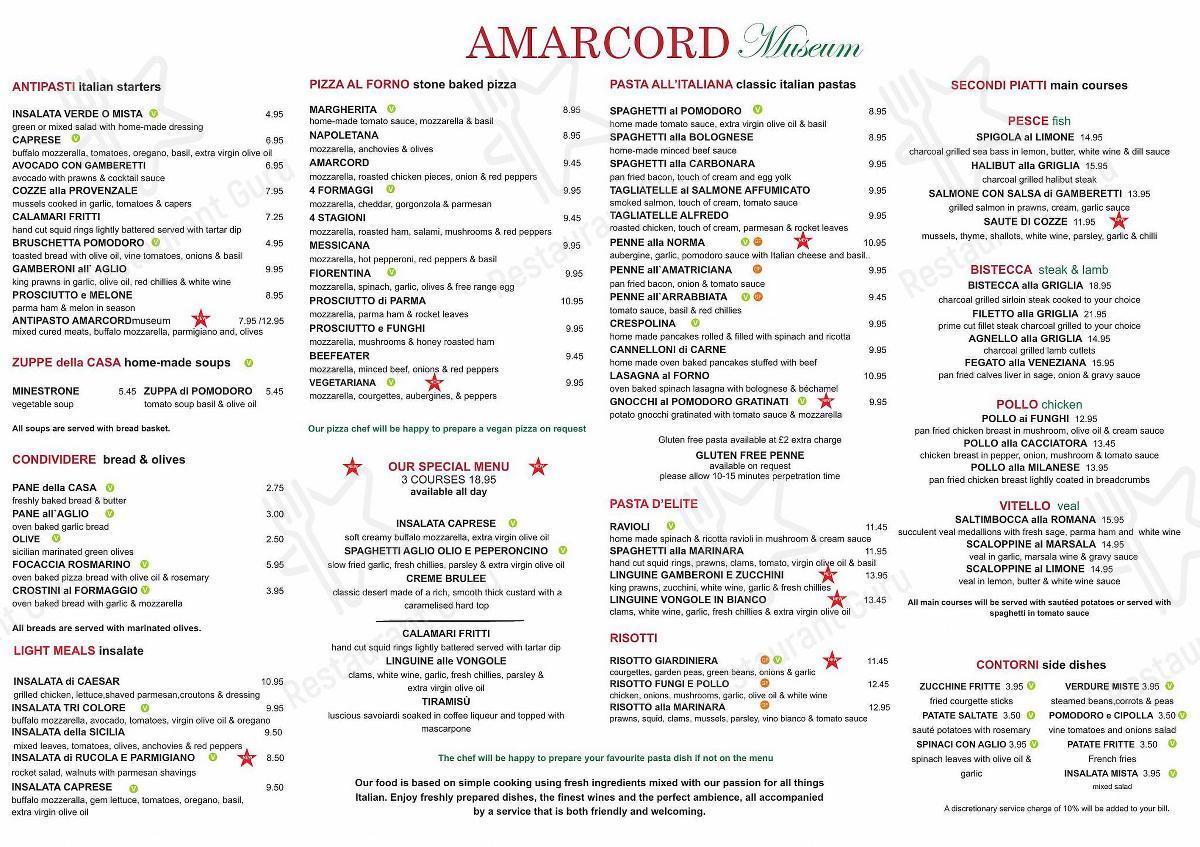 Amarcord Museum menu