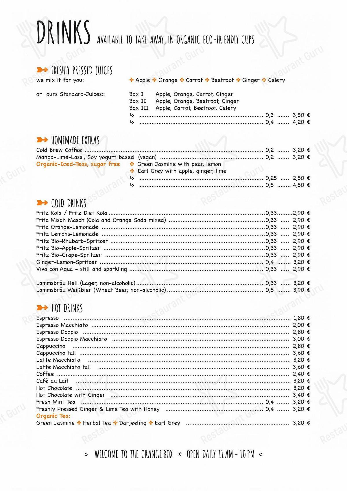 ORANGE BOX Speisekarte - Essen und Getränke