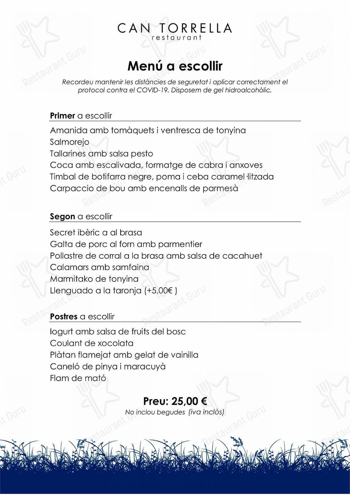 Carta de Can Torrella - platos y bebidas