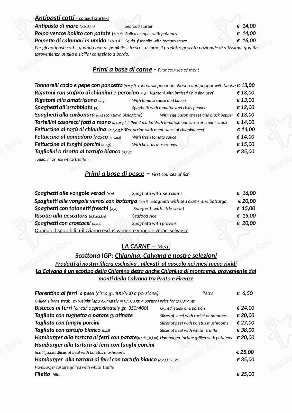 Menu di Hostaria-Pizzeria da Cesare - Menu alla Carta