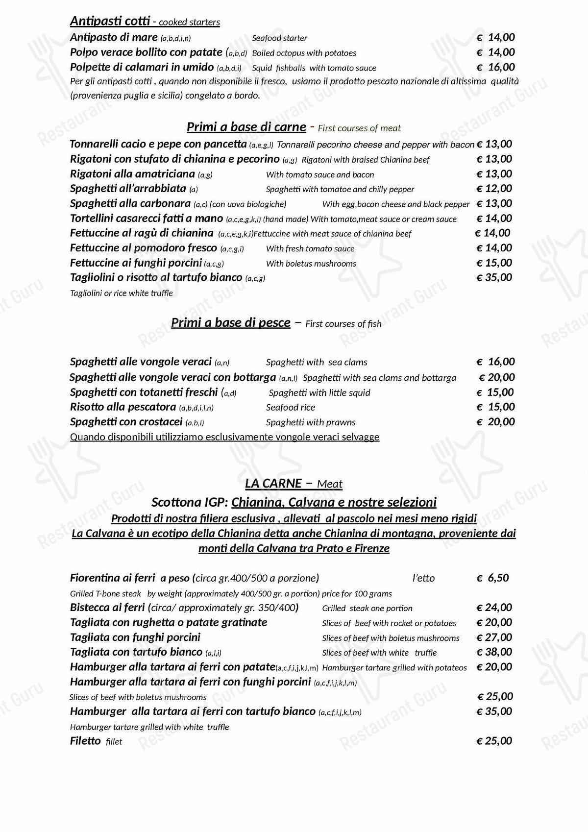MENU take away per Hostaria-Pizzeria da Cesare pub & bar