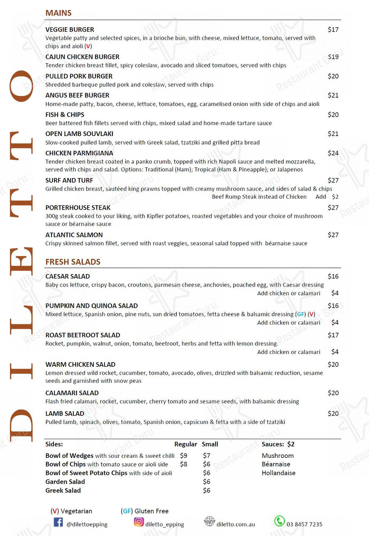 Diletto menu - meals and drinks