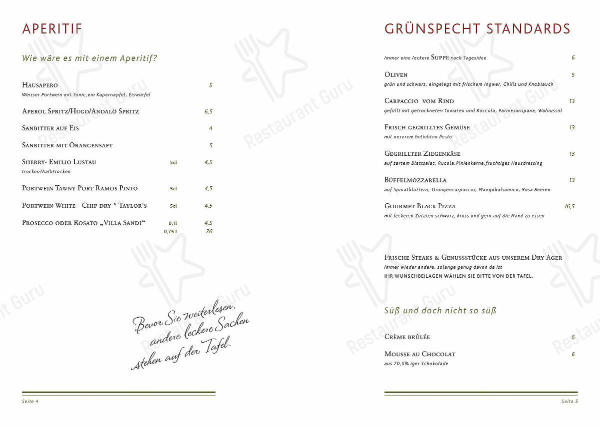 Grünspecht - Das Original Speisekarte - Gerichte und Getränke