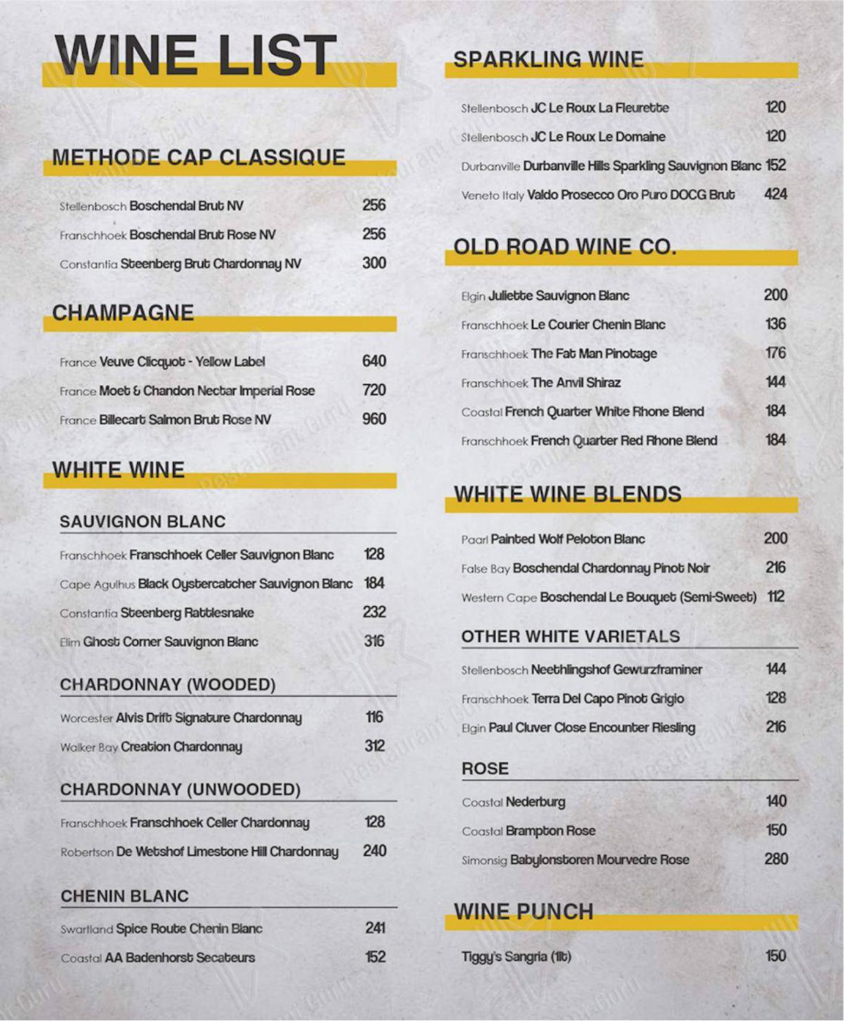 Delivery Menu for Mike's Kitchen in Johannesburg