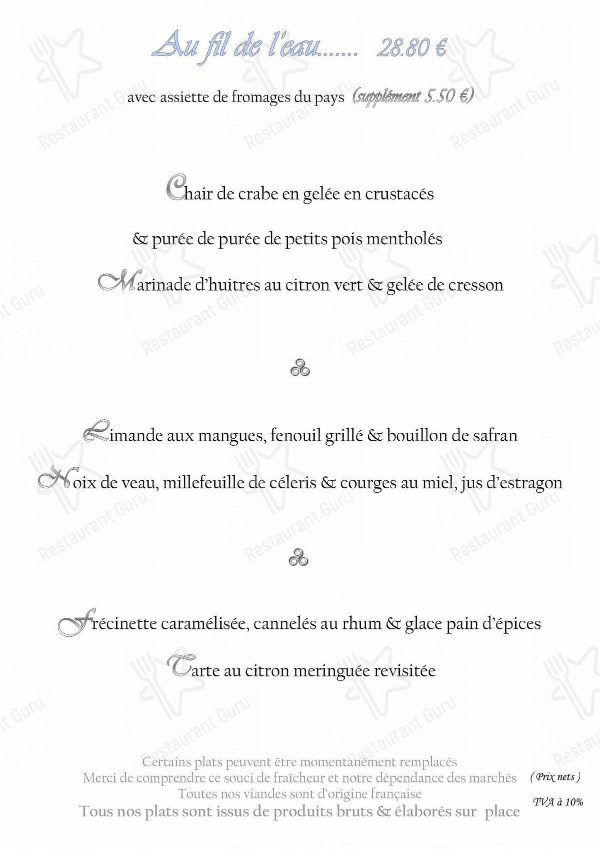Меню L'Eau d'Oust - блюда и напитки