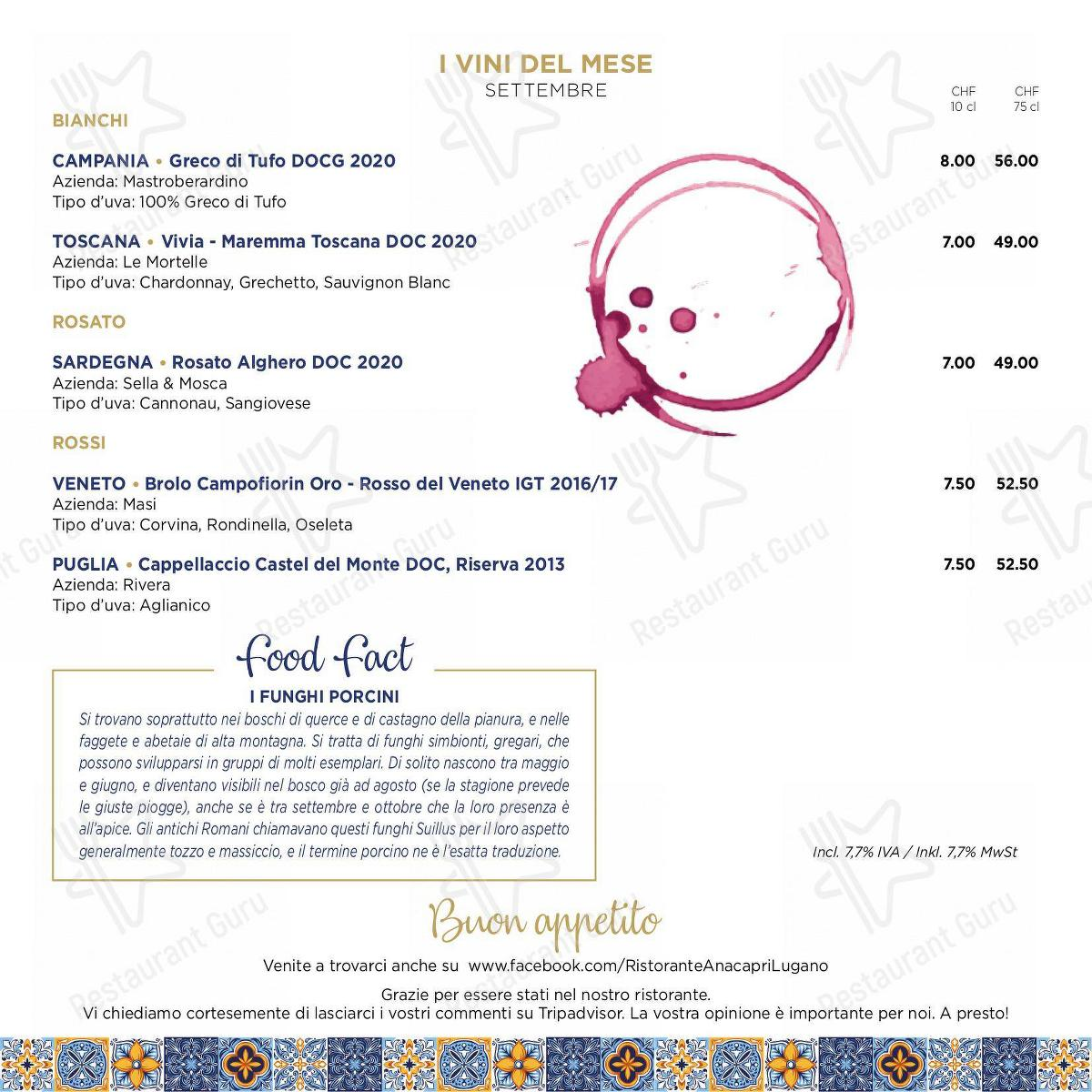 Speisekarte von Anacapri pizza