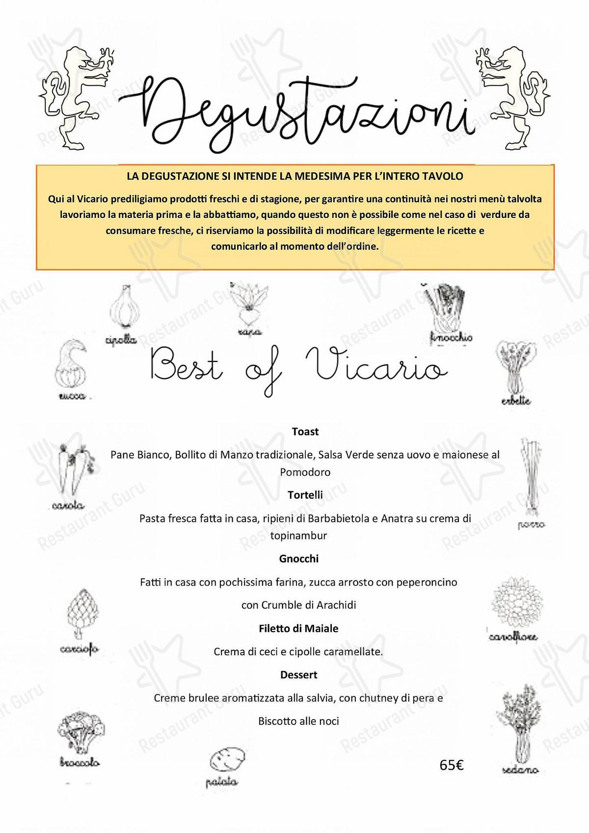 Osteria del Vicario menu - meals and drinks