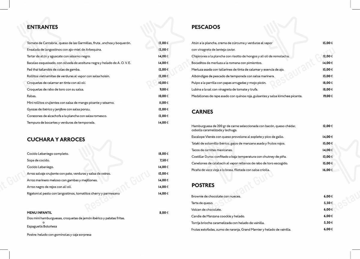 Carta de PANORAMA - platos y bebidas