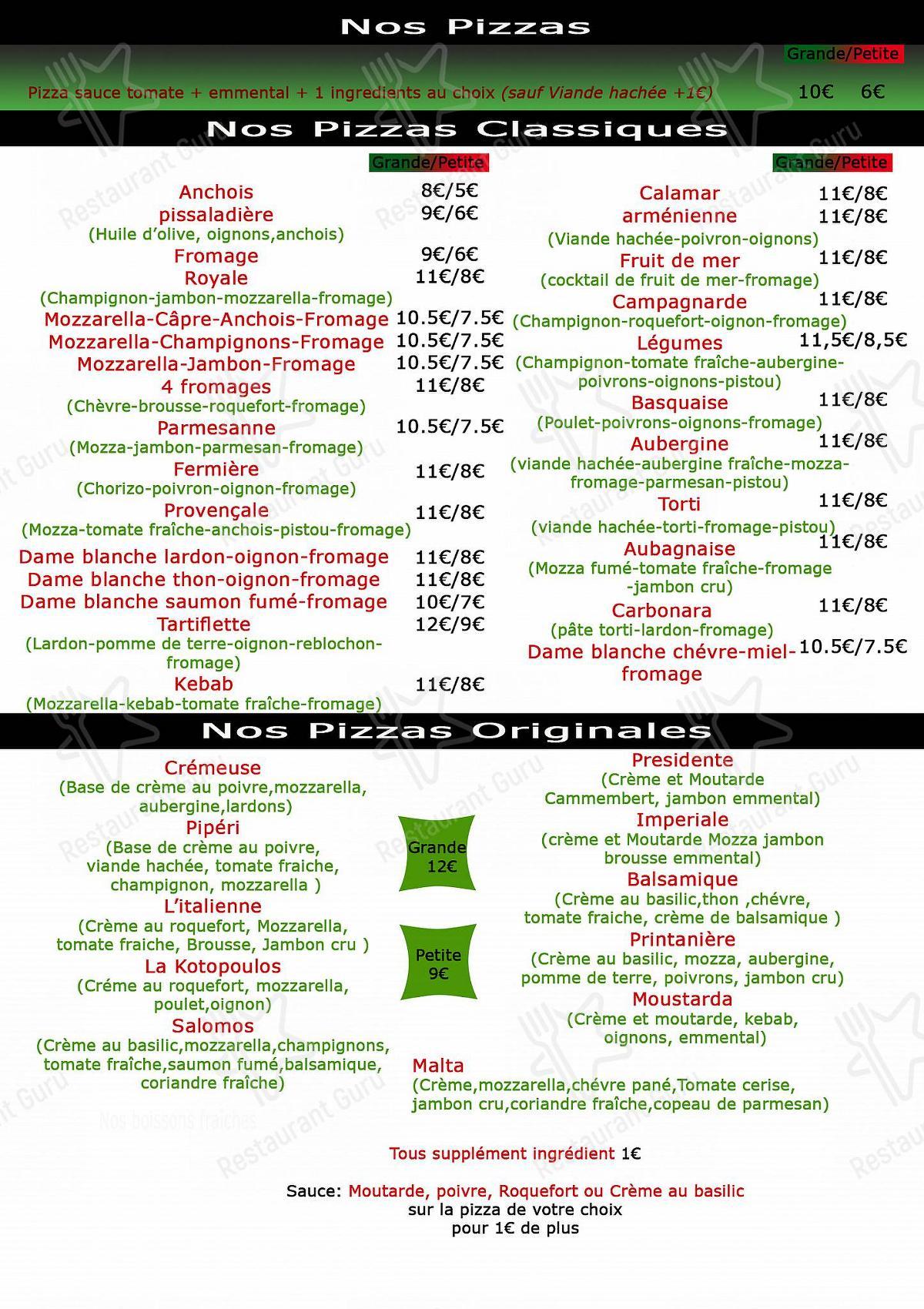 Menu pour Pizza Malta - plats et boissons