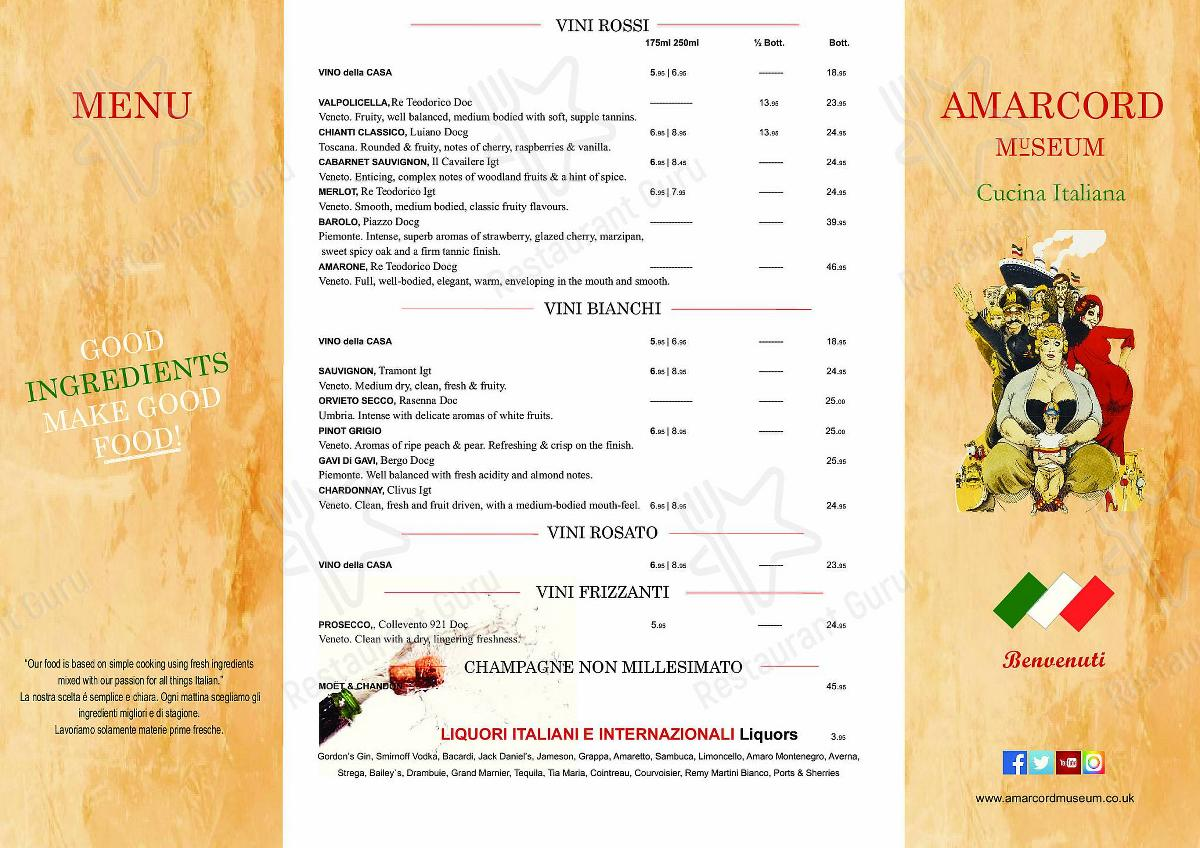 Amarcord Museum menu - dishes and beverages