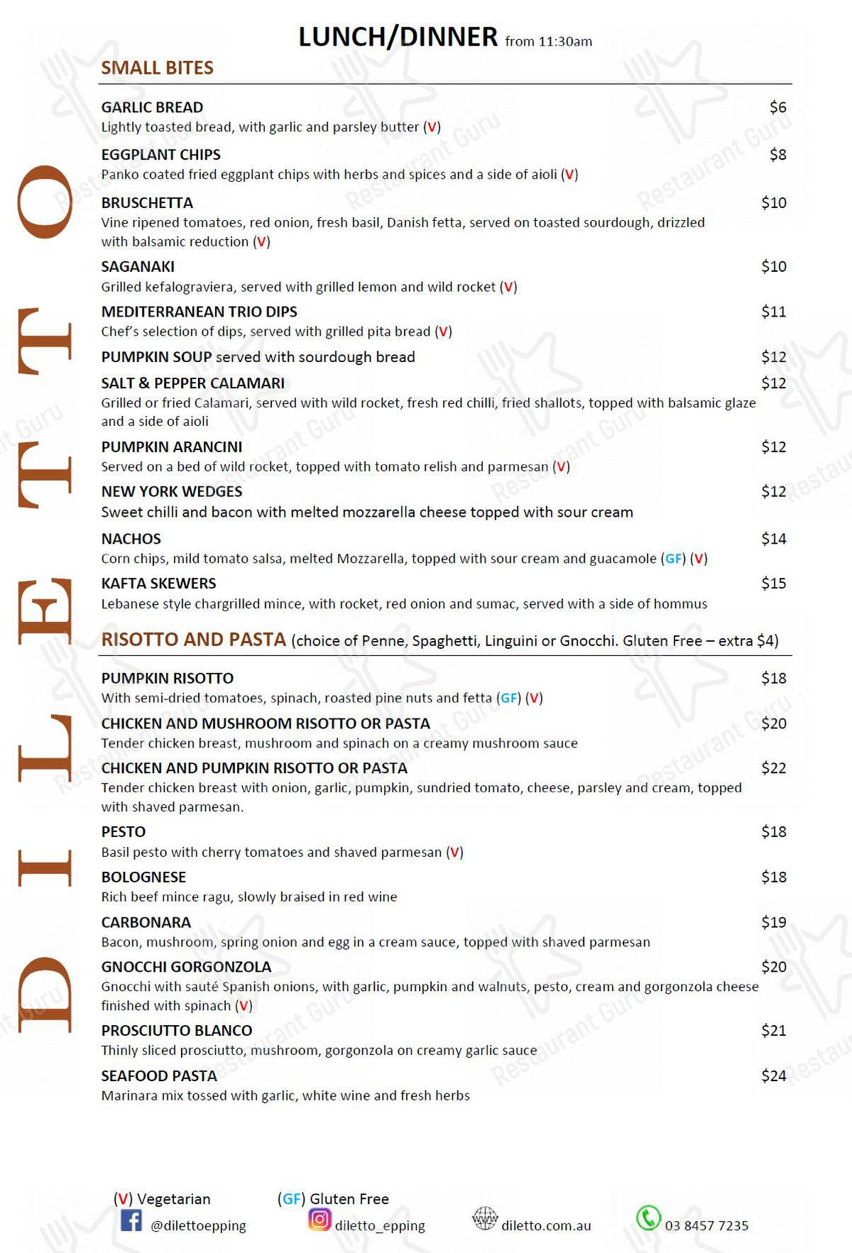 Diletto menu - dishes and beverages