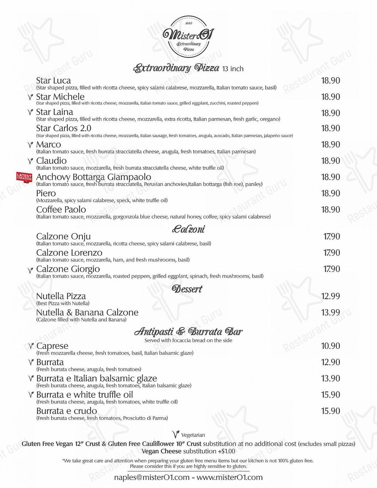 Взгляните на меню Mister O1 Extraordinary Pizza