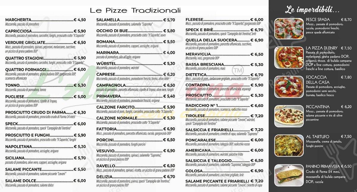 Check out the menu for Pizzeria D'asporto L'Amalfitana