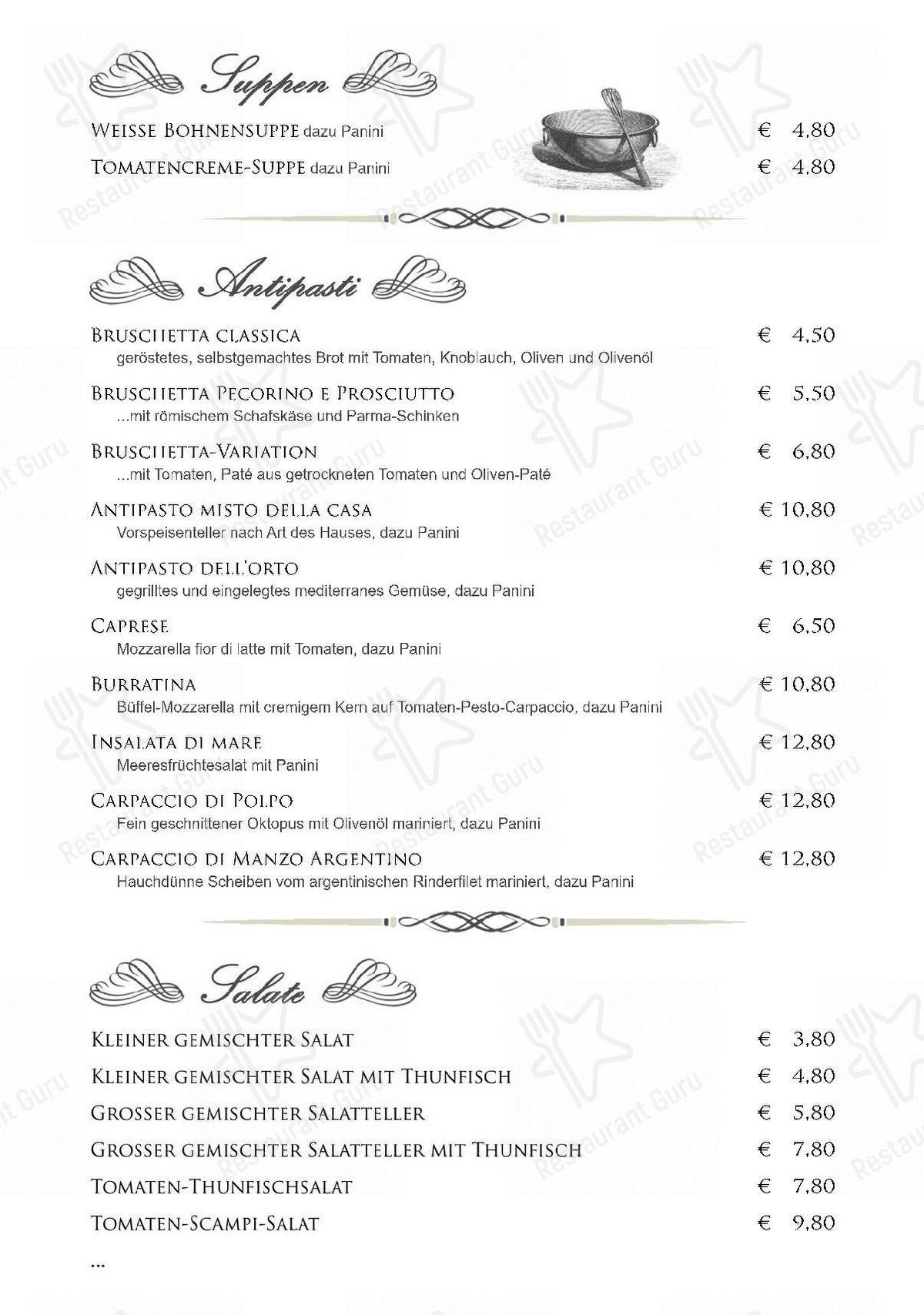 Ristorante da Fata menu - dishes and beverages