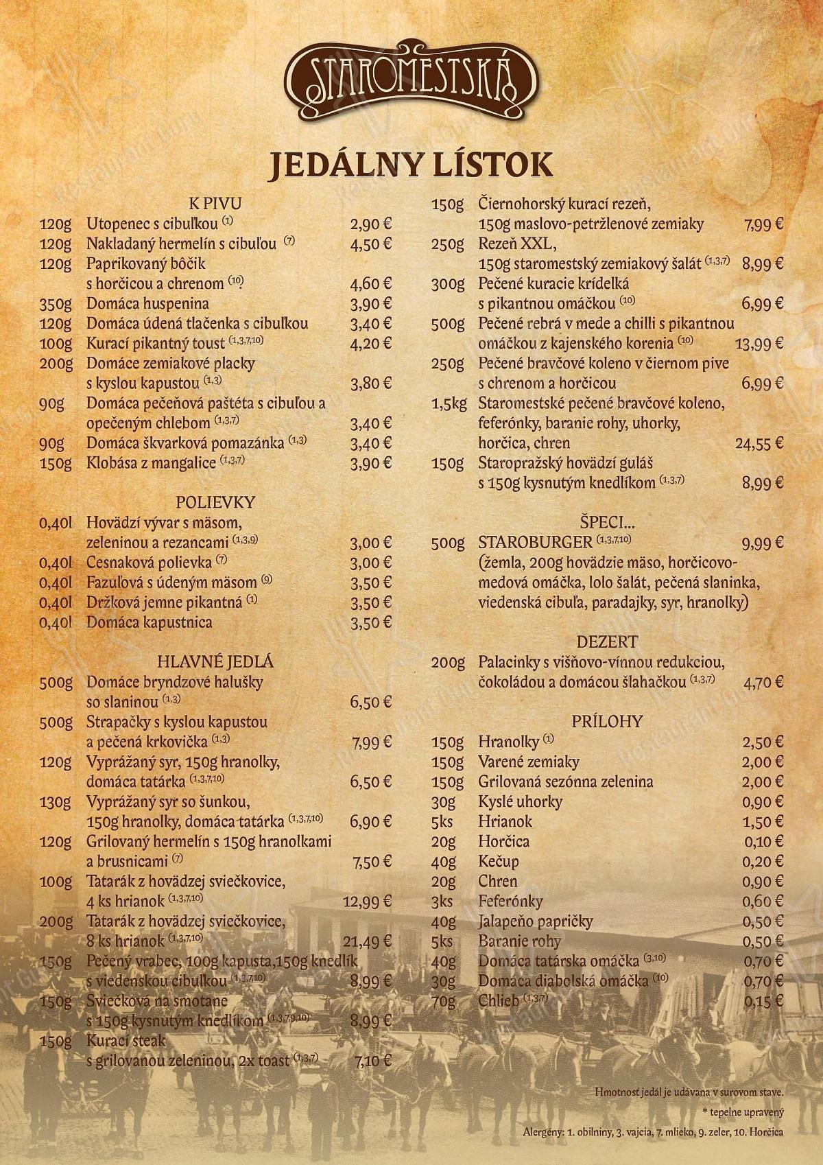 Carta de Staromestská Piváreň - platos y bebidas