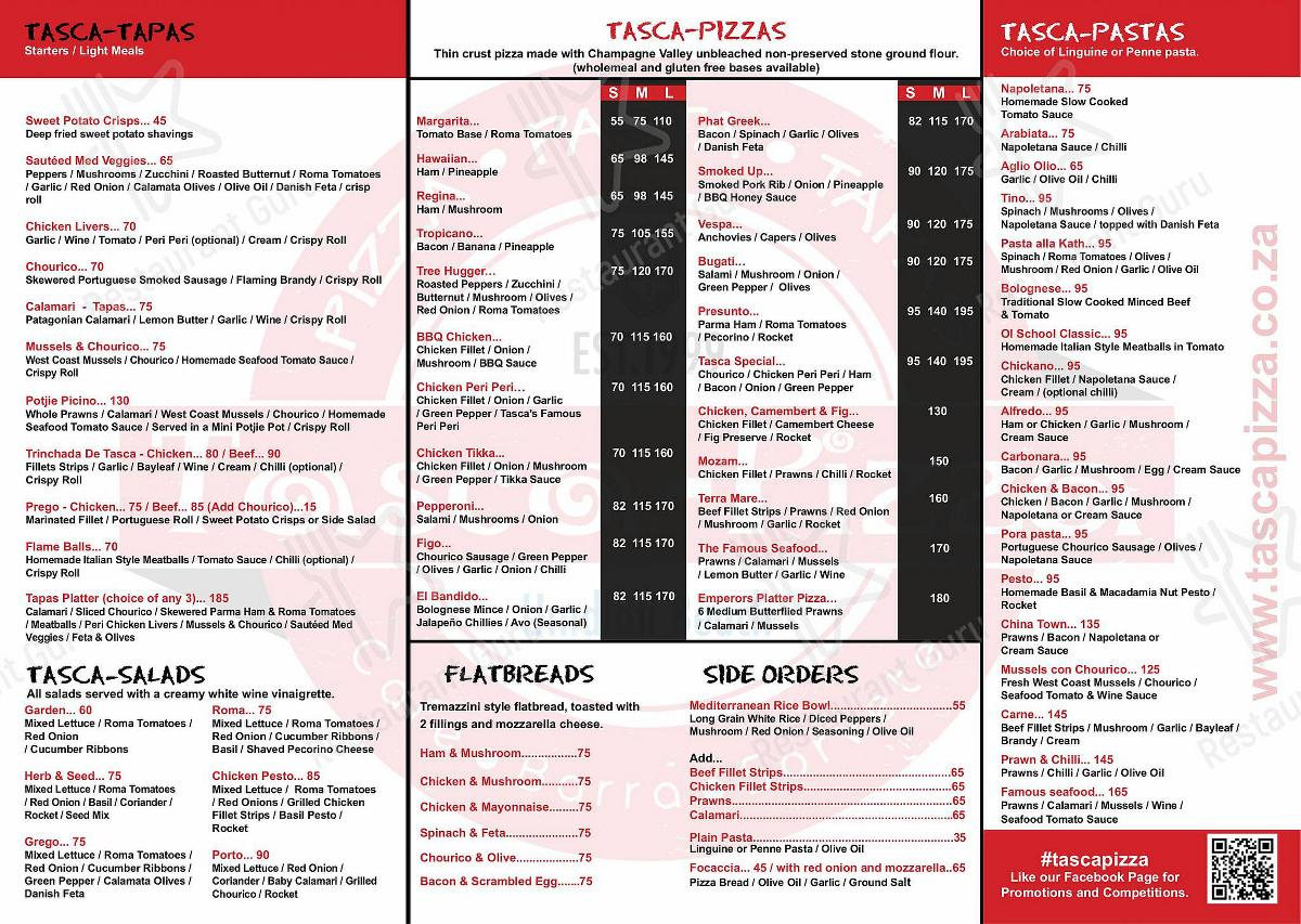 Tasca Pizza menu - meals and drinks