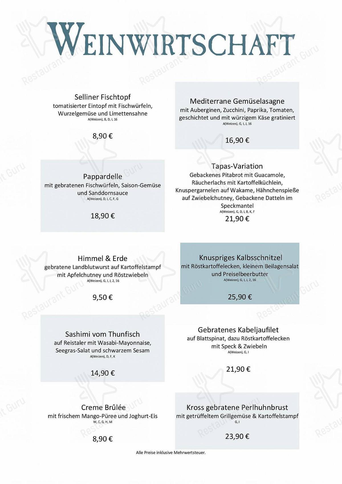 Menu pour Weinwirtschaft - plats et boissons