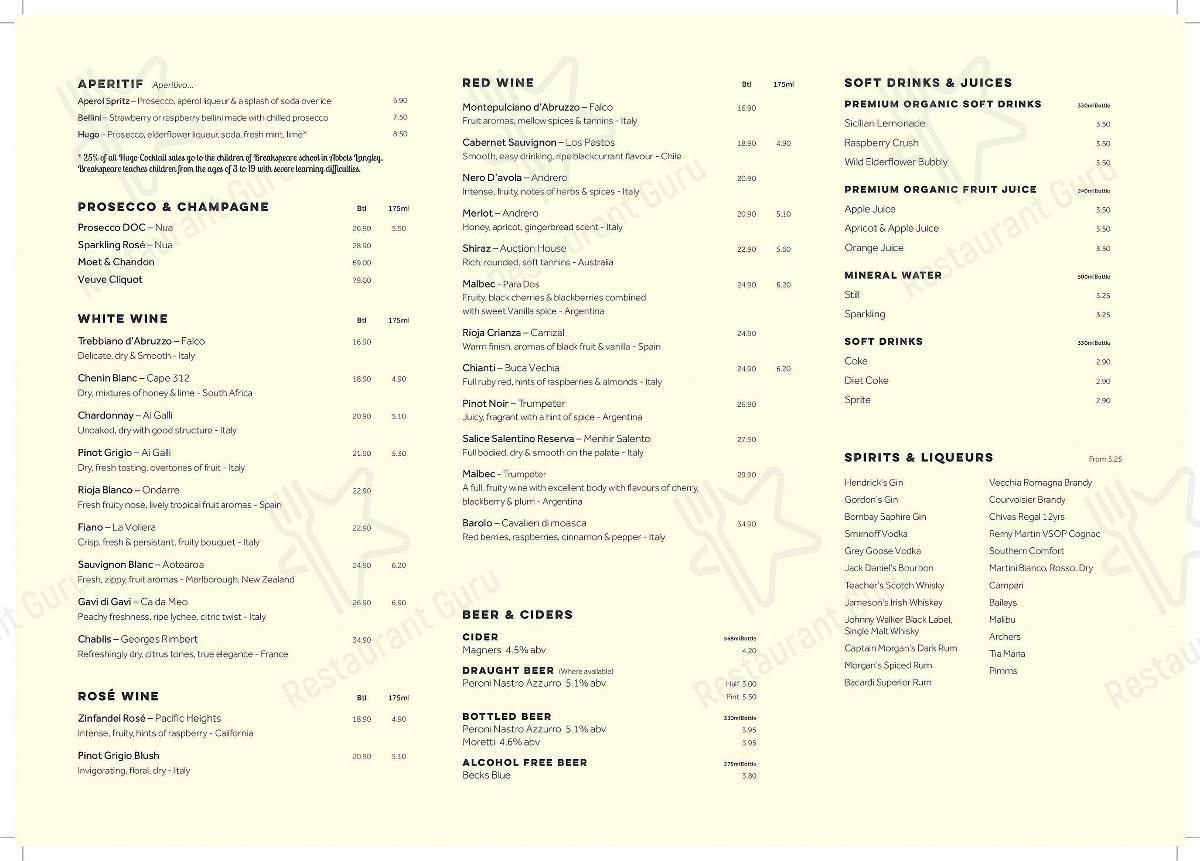 Zaza menu - meals and drinks