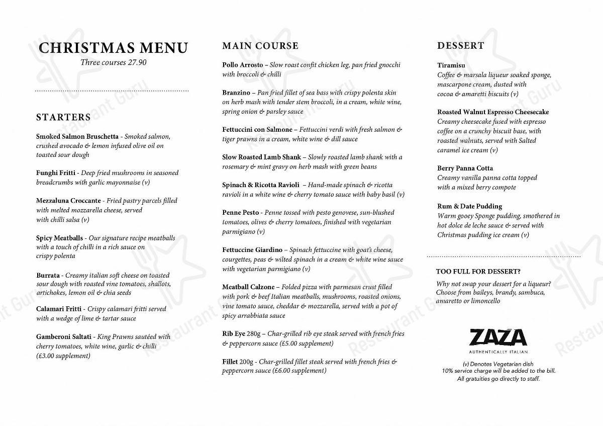 Menu for the Zaza restaurant