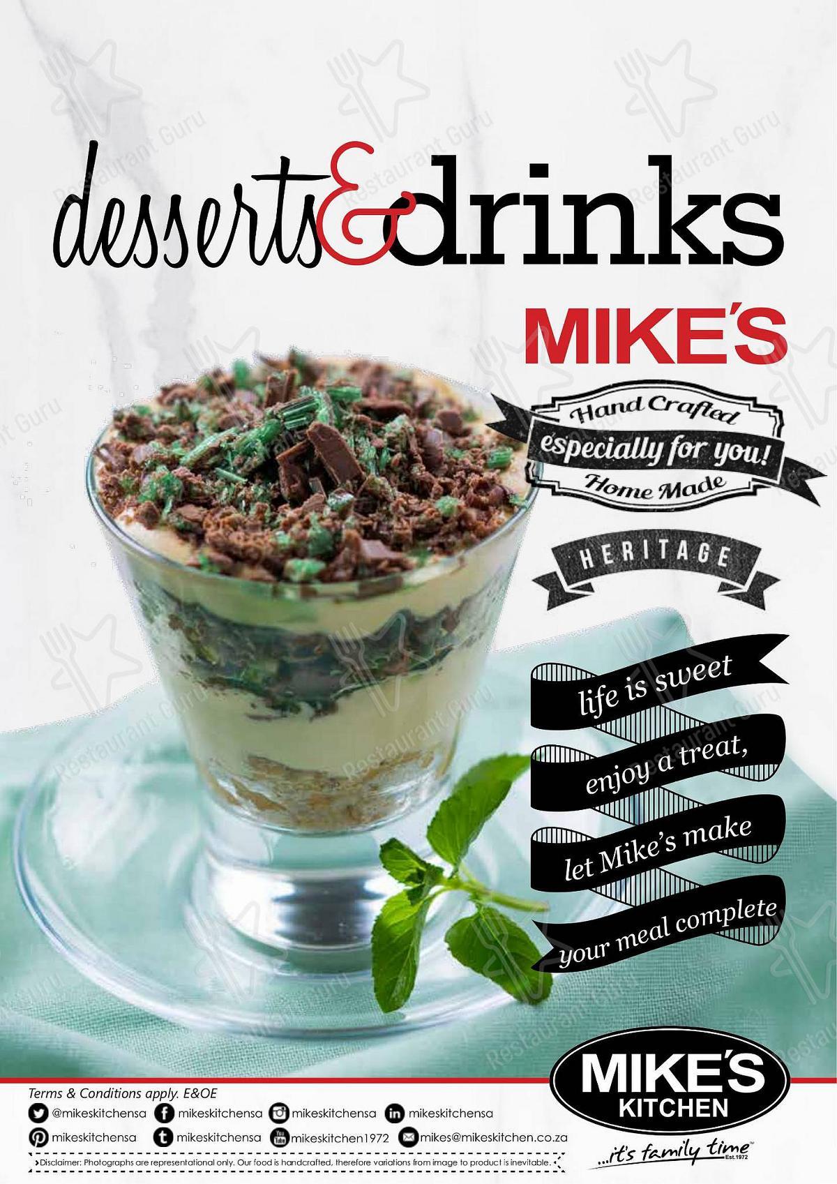 Mike's Kitchen - Dessert Menu