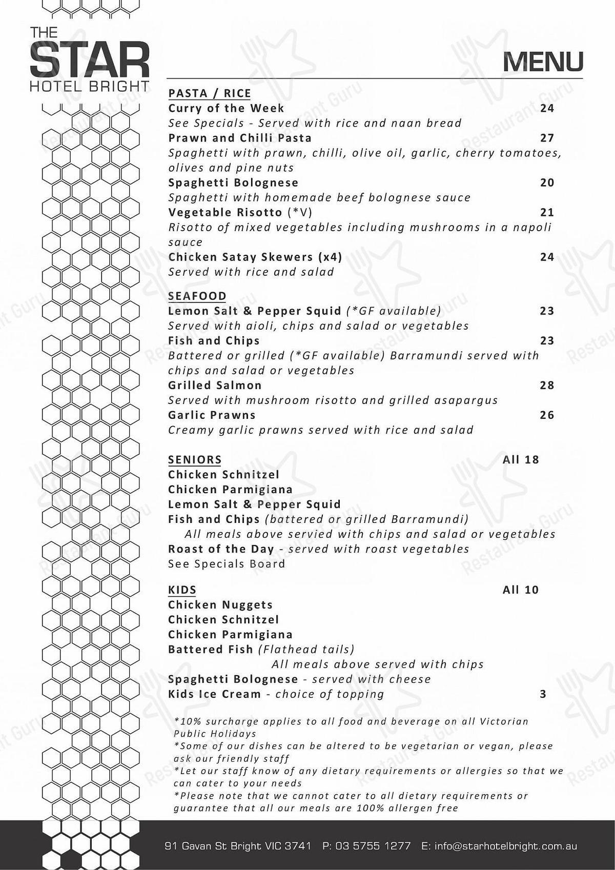 Star Hotel in Bright - Food Menu