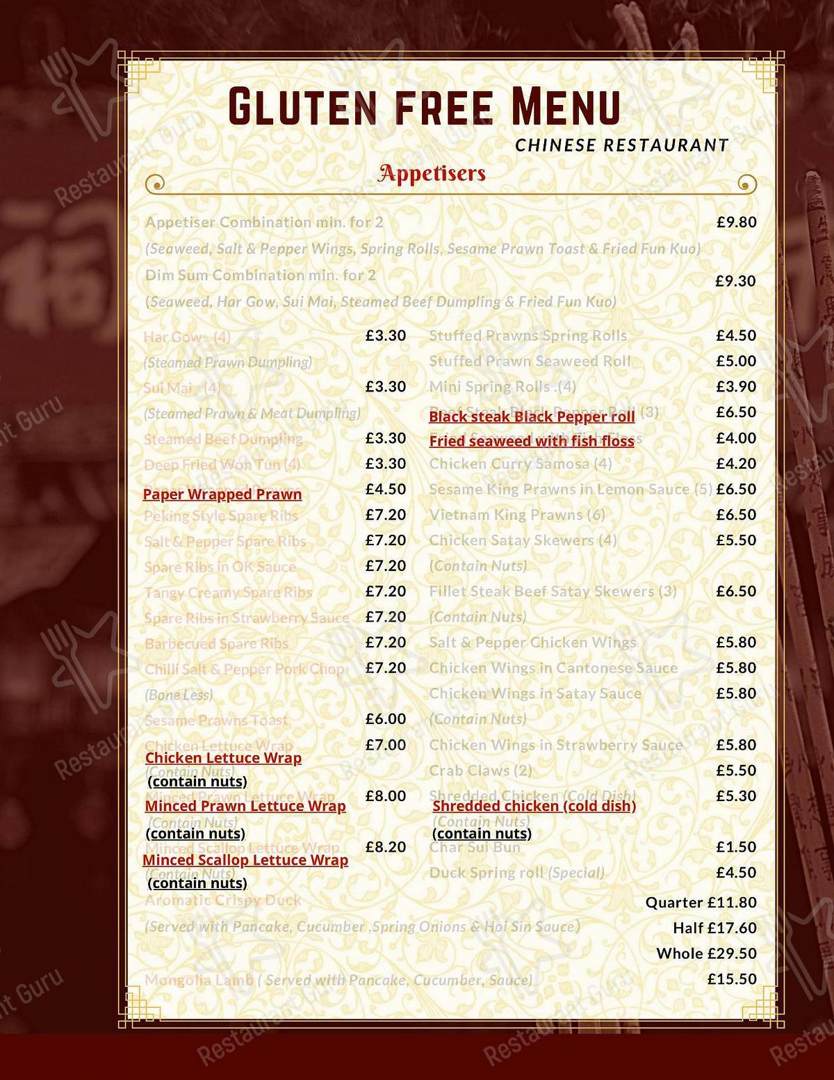 Menu At China Rose Restaurant Bury