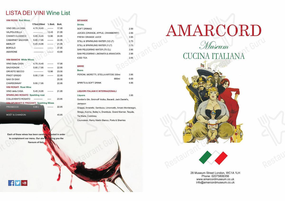 Amarcord Museum menu - meals and drinks