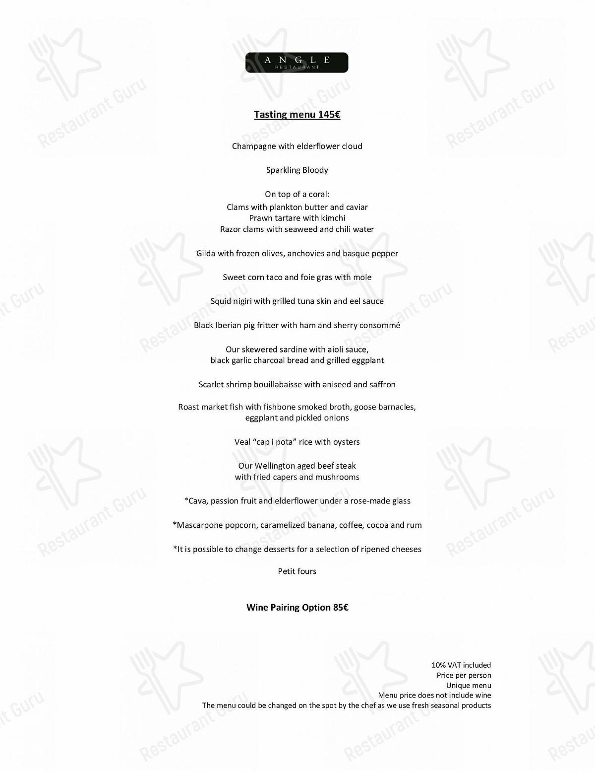 Angle menu - dishes and beverages