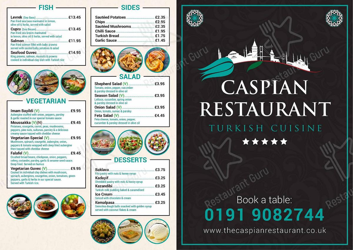Caspian Restaurant menu - dishes and beverages