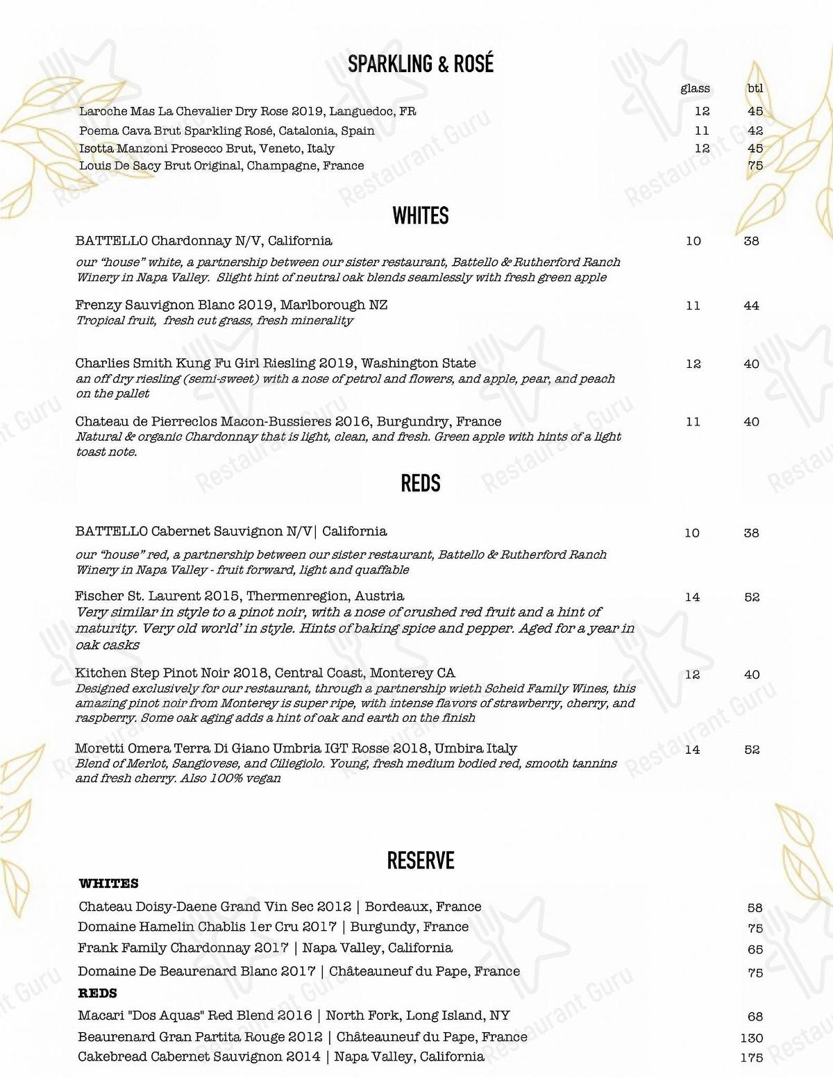 The Kitchen Step menu - meals and drinks