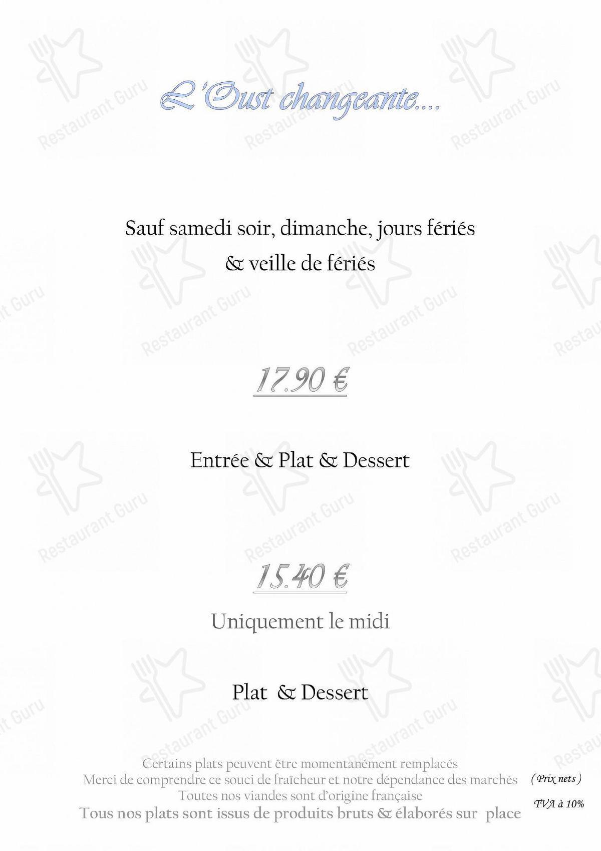 Меню для посетителей ресторана L'Eau d'Oust