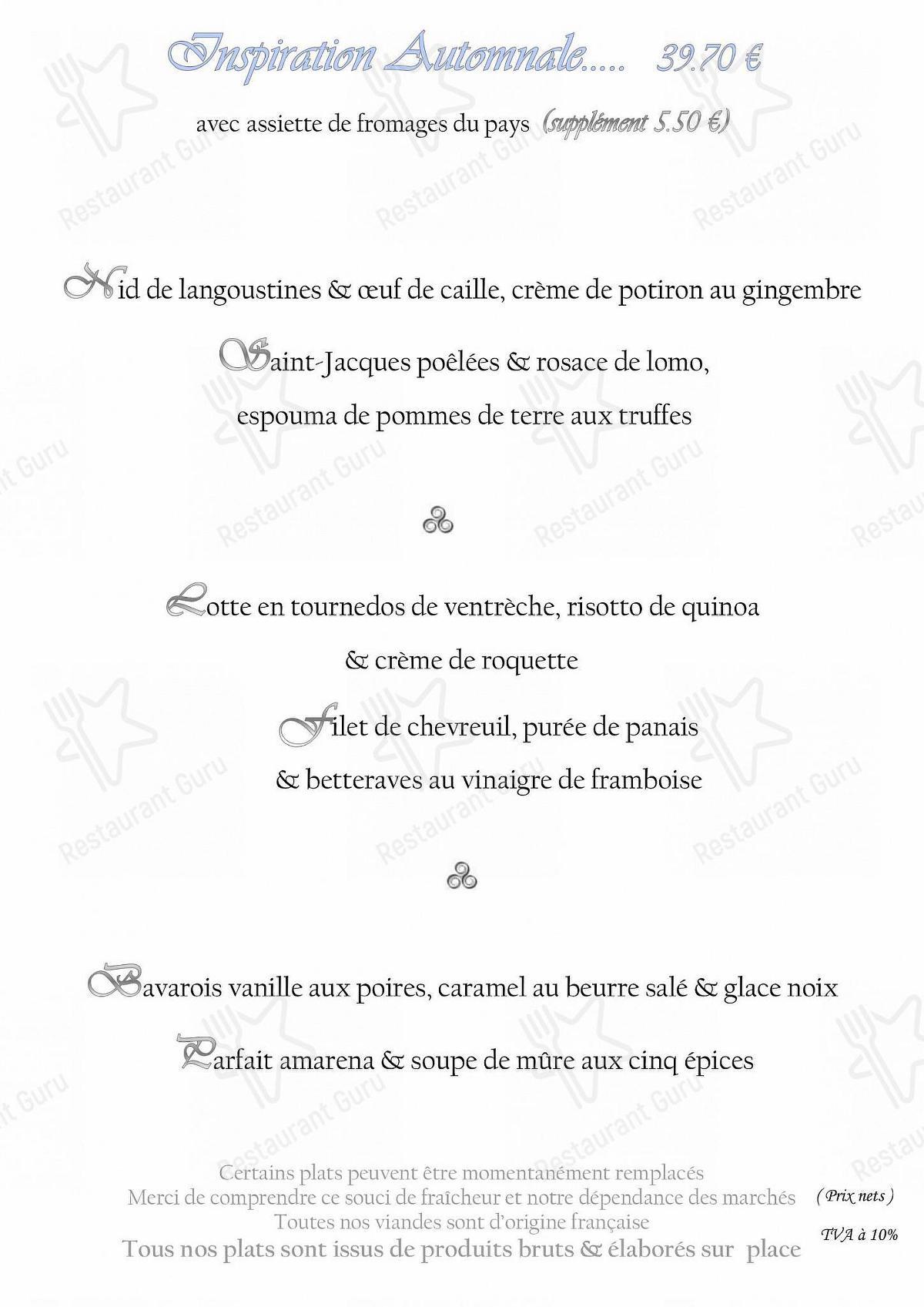 Меню L'Eau d'Oust - еда и напитки