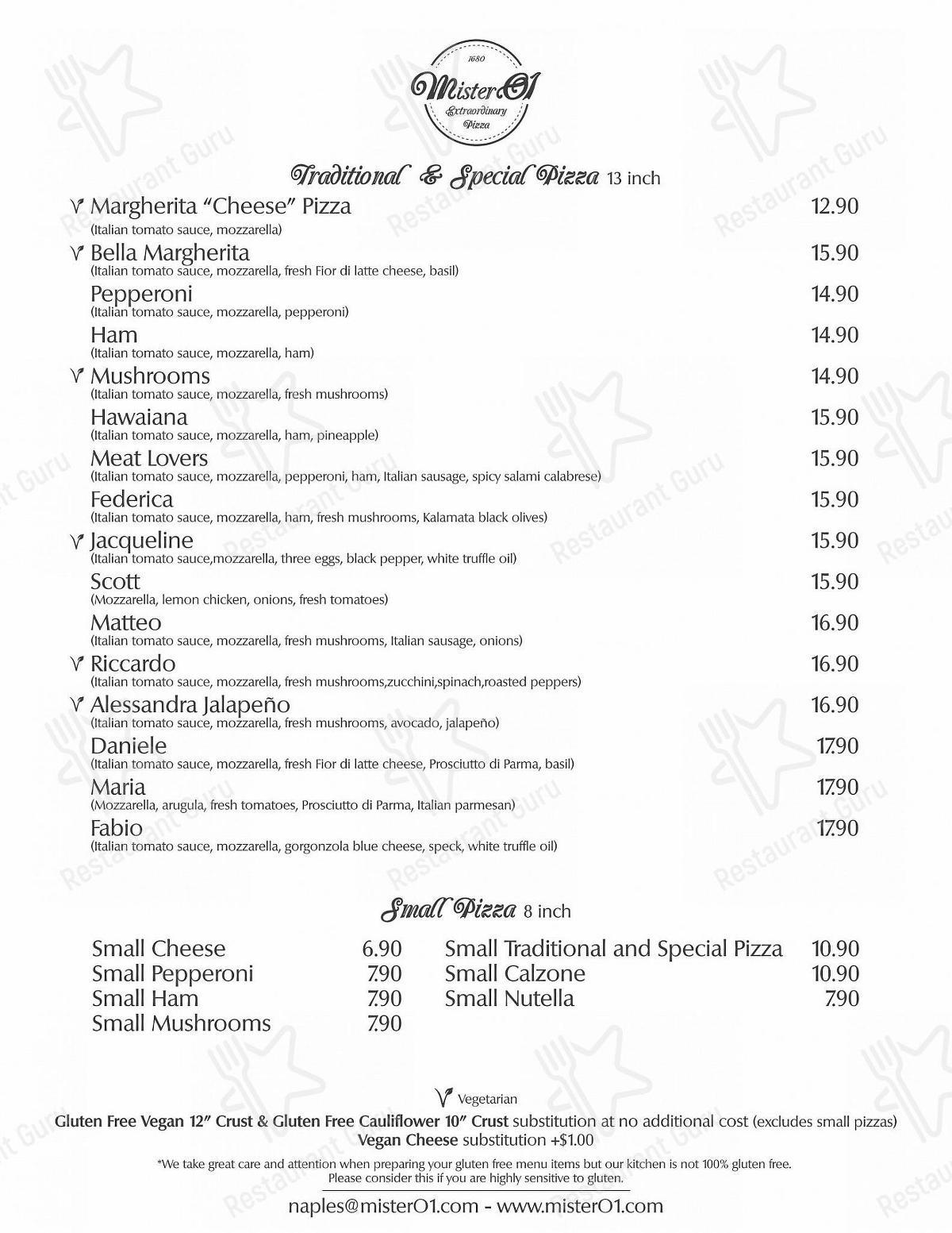 Меню для посетителей ресторана Mister O1 Extraordinary Pizza