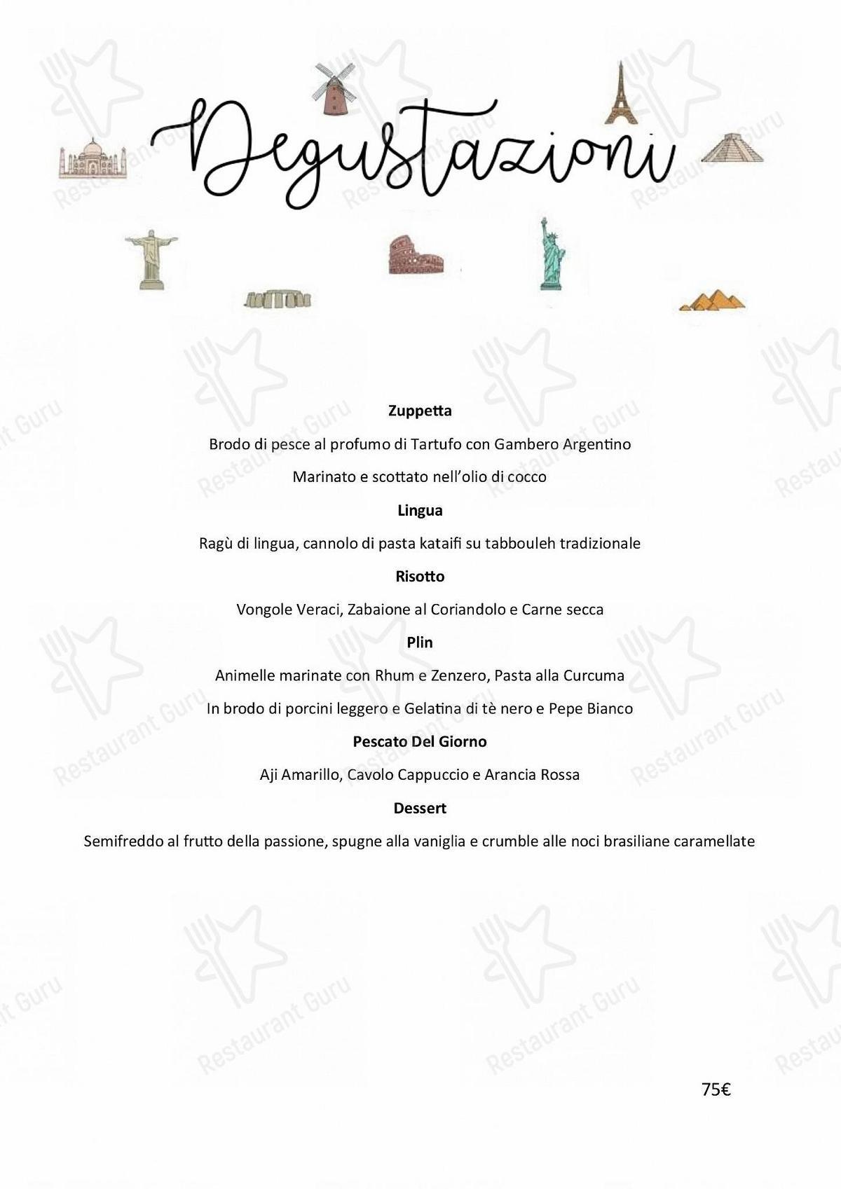 Menu for the Osteria del Vicario restaurant