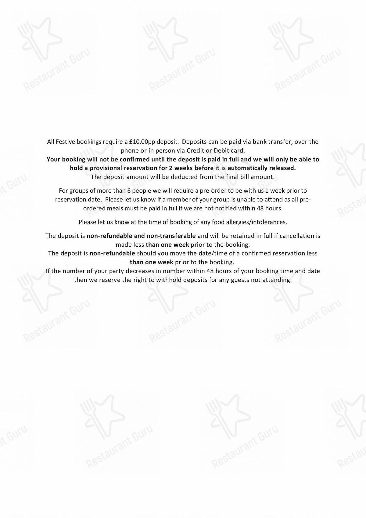 Penrose Kitchen menu - meals and drinks