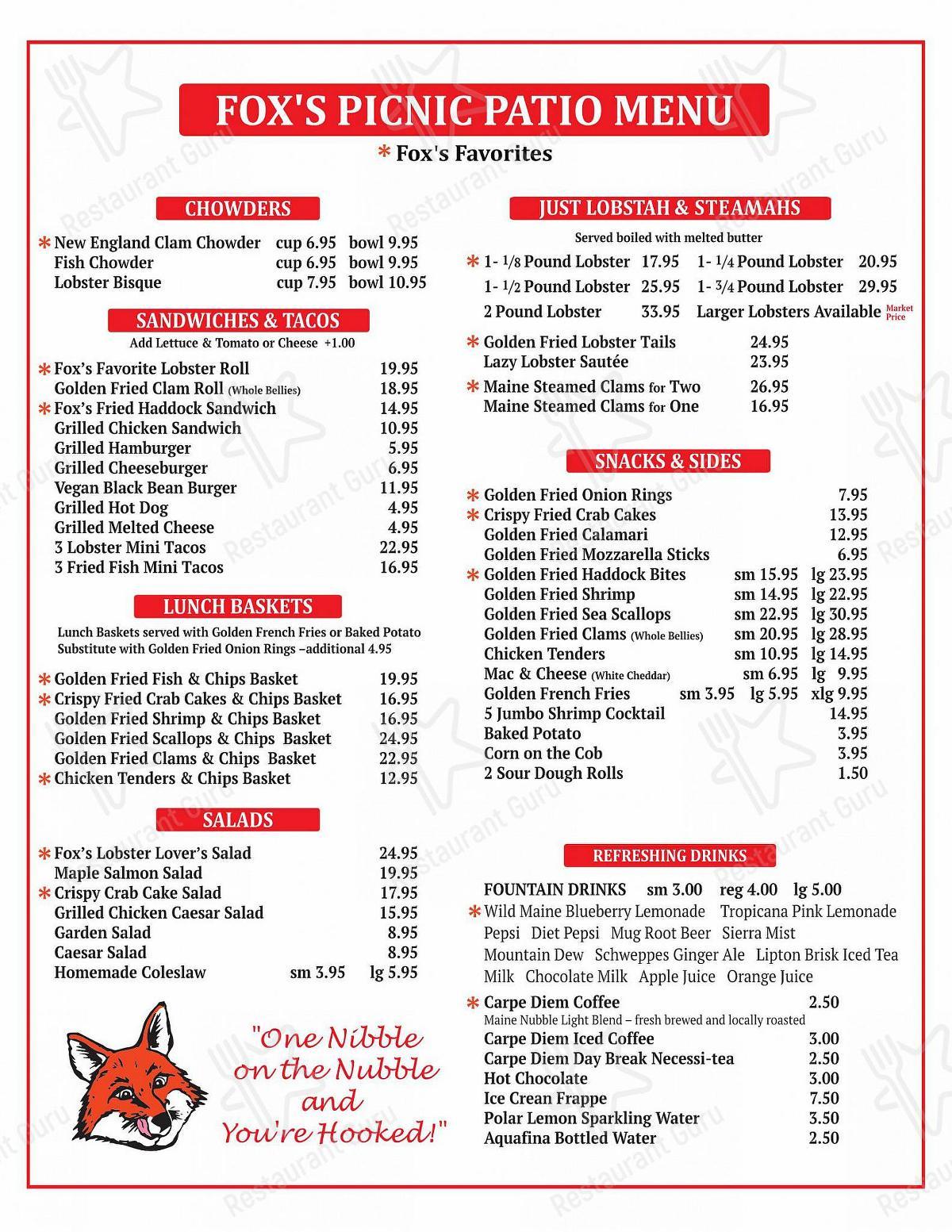 Menu at Fox's Lobster House restaurant ...